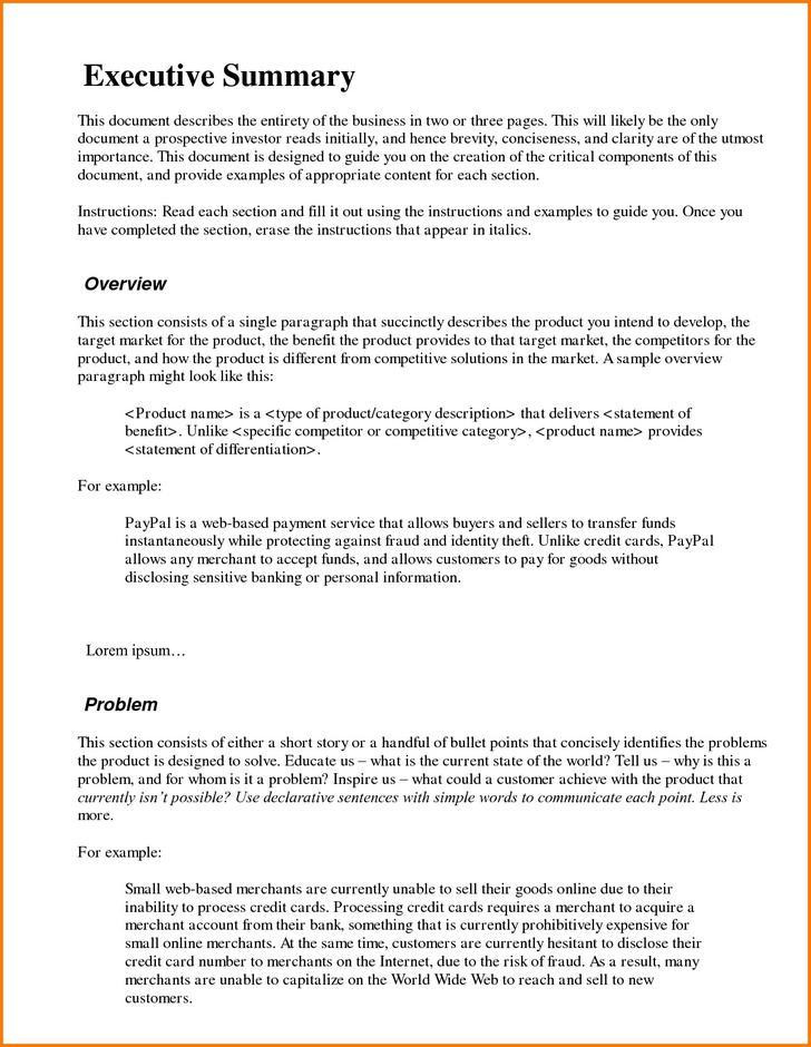 Executive Summary Template for Bank