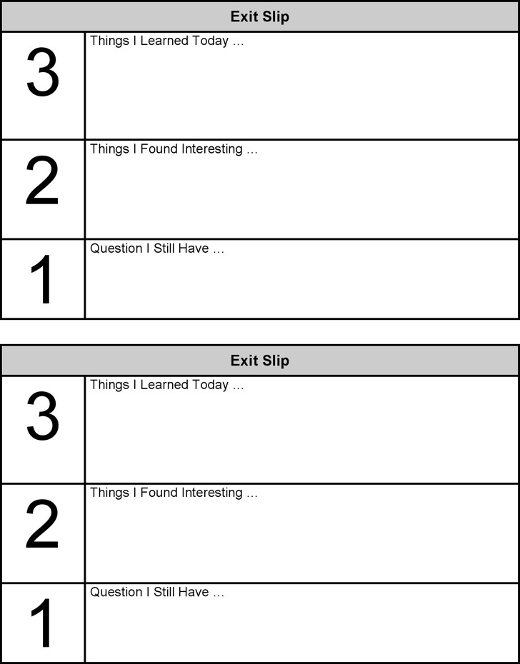 Exit Ticket Template Exit Slips Template Exit Ticket Template