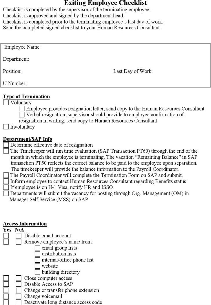 Employee Checklist Templates – Employee Contact Information Template