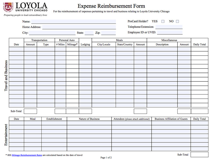Expense Reimbursement Form – Reimbursement Form