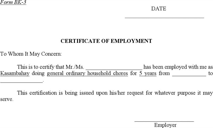 Employment Certificates – Sample of Certification of Employment