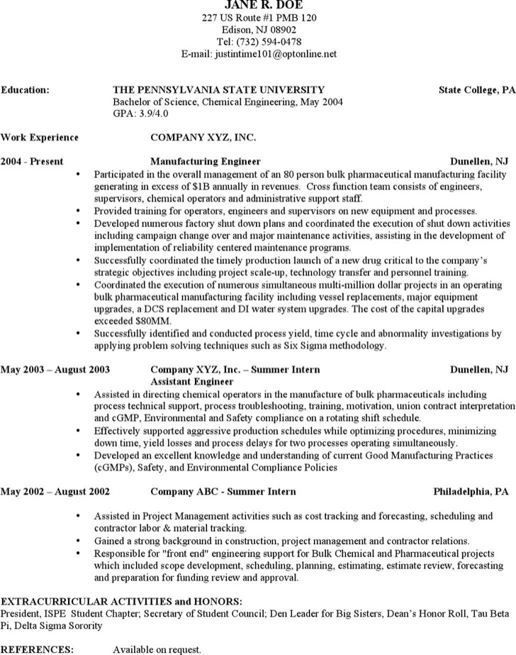 Experienced Chemical Engineer Resume