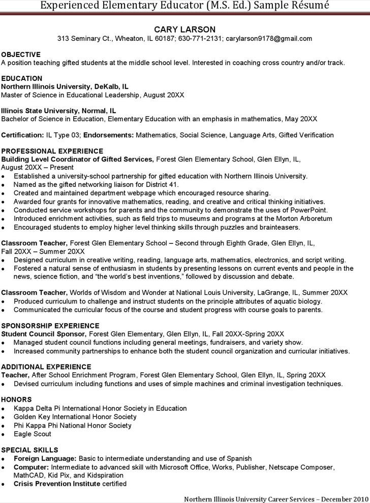 Experienced Elementary Teacher Resume