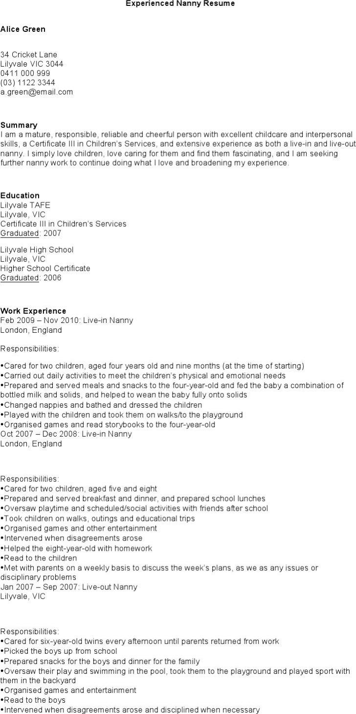 nanny resume templates download free premium templates forms free nanny resume templates