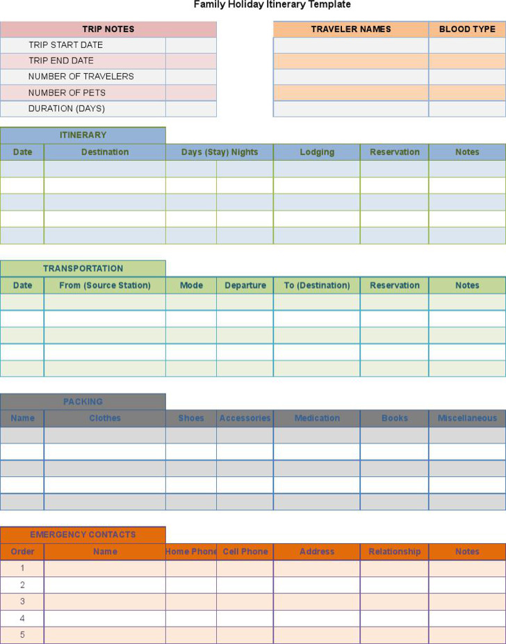 holiday itinerary templates in word and excel formats download
