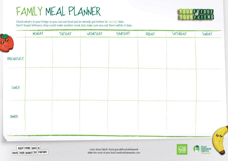 sample food menu templates