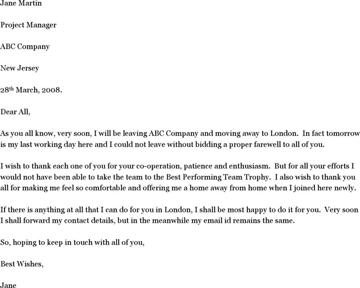 Letter Of Goodbye Goodbye Email To Coworkers Best Business Template