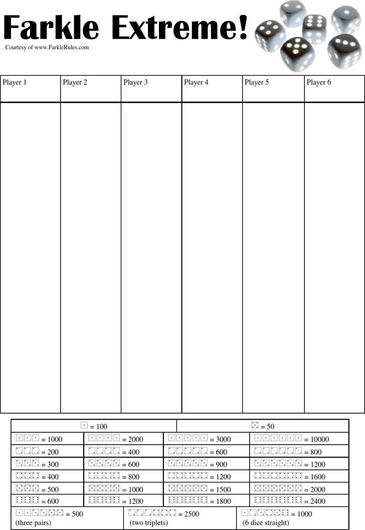 Farkle Score Sheet  Download Free  Premium Templates Forms