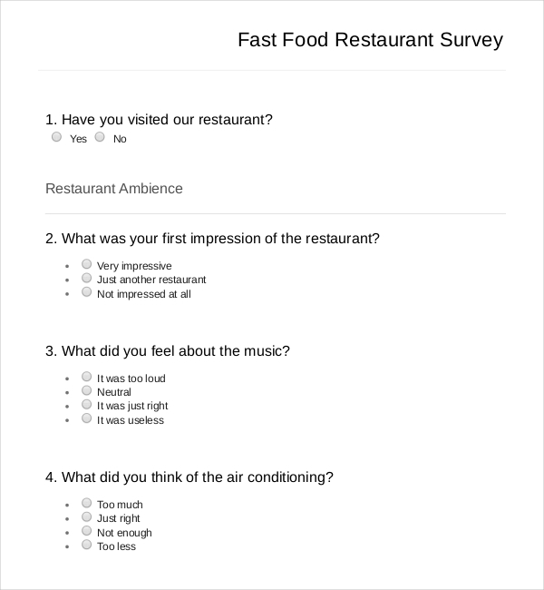 Restaurant Survey Template  Download Free  Premium Templates