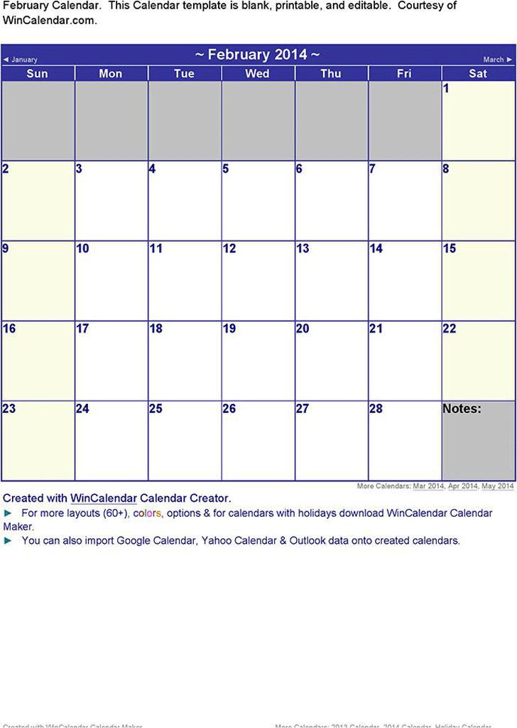 February 2014 Calendar 2