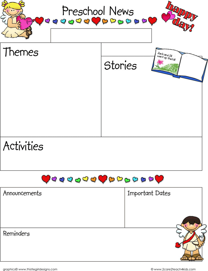 February Preschool Newsletter Template