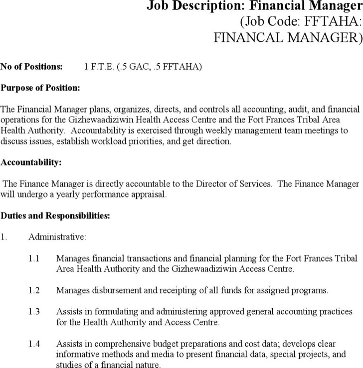 Word Job Description Templates – Financial Manager Job Description