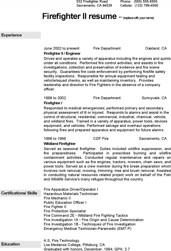 Firefighter Resume Template  Firefighter Resume Templates