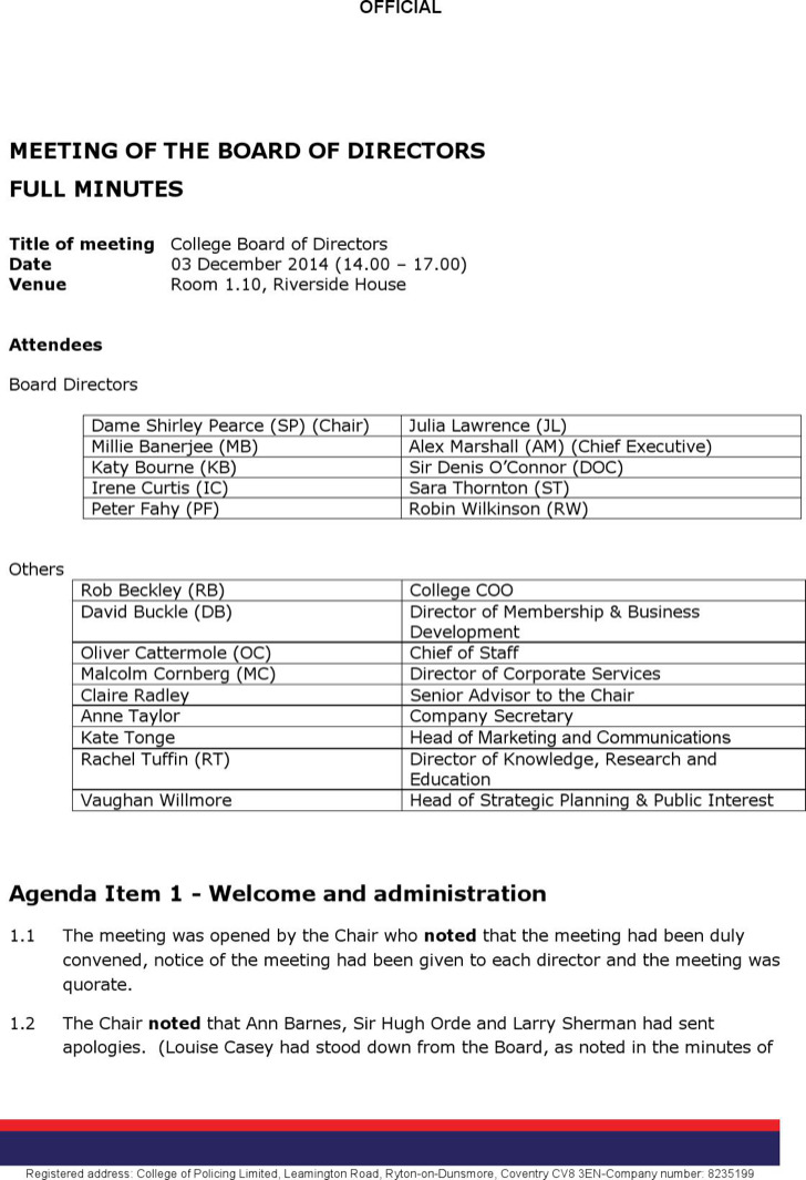 Board of Directors Meeting Agenda Templates – Research Agenda Sample