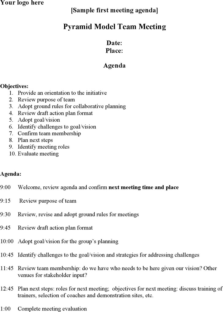 Meeting Agenda Template Volunteer Project Meeting Agenda – Format of an Agenda
