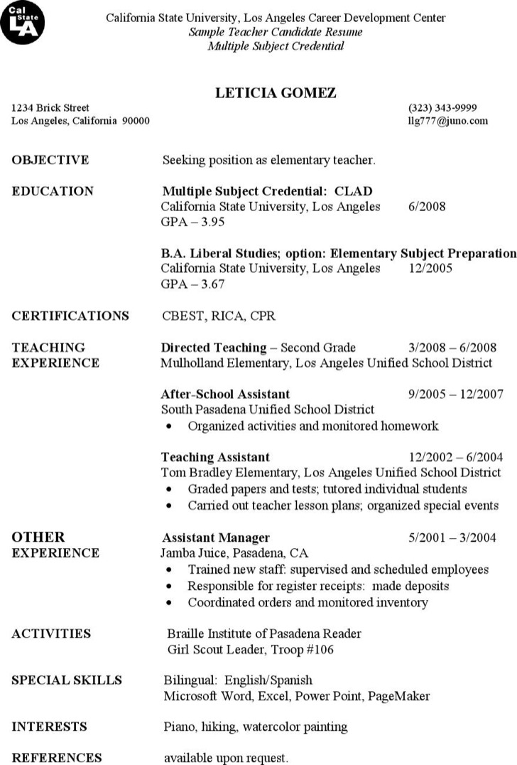First Year Elementary Teacher Resume