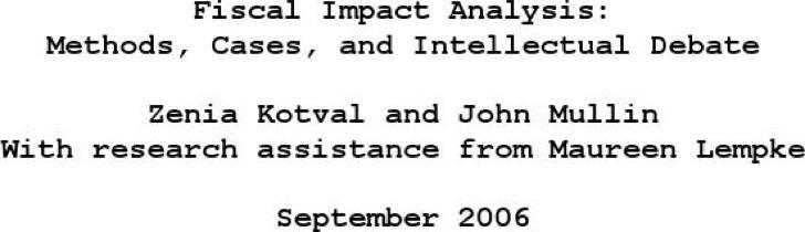 Fiscal Impact Analysis
