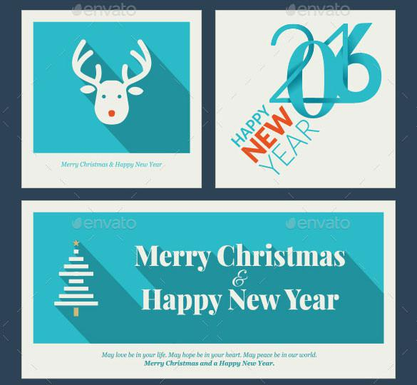 Flat Design Christmas and New Year Greeting Card Template