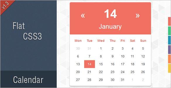 Flat HTML5 and CSS3 Calendar