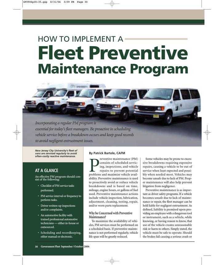 Fleet Preventive Maintenance Schedule Template PDF Format