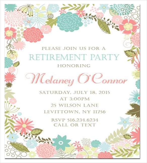 Elegant Retirement Invitations with beautiful invitation design