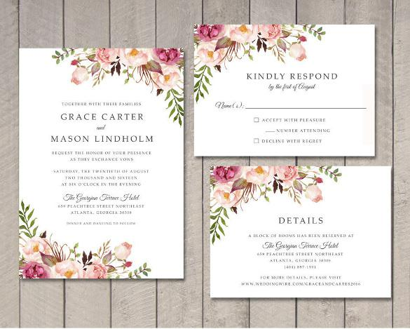 Floral Wedding Invitation Printable DIY