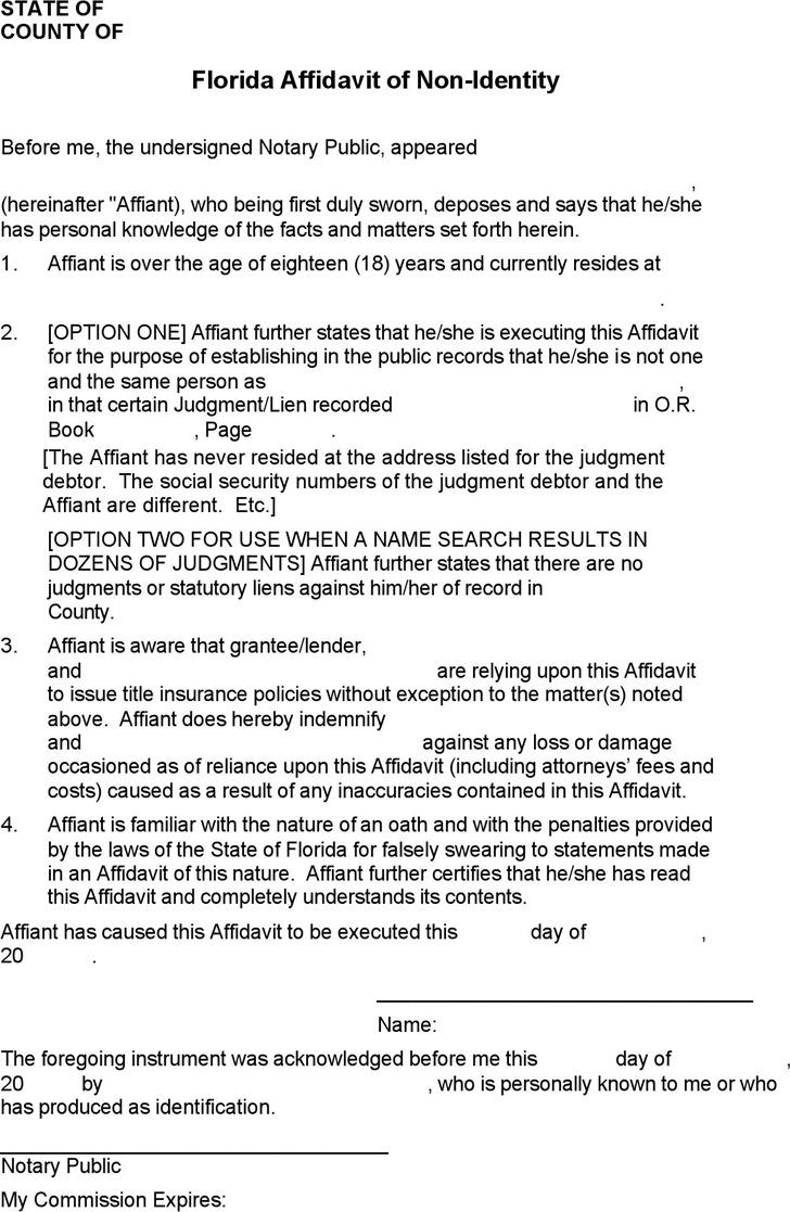Florida Affidavit of Non-identity