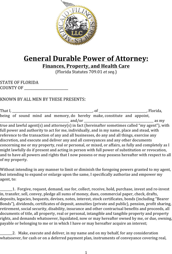 Florida Durable Power of Attorney Form For Finances, Property And Health Care