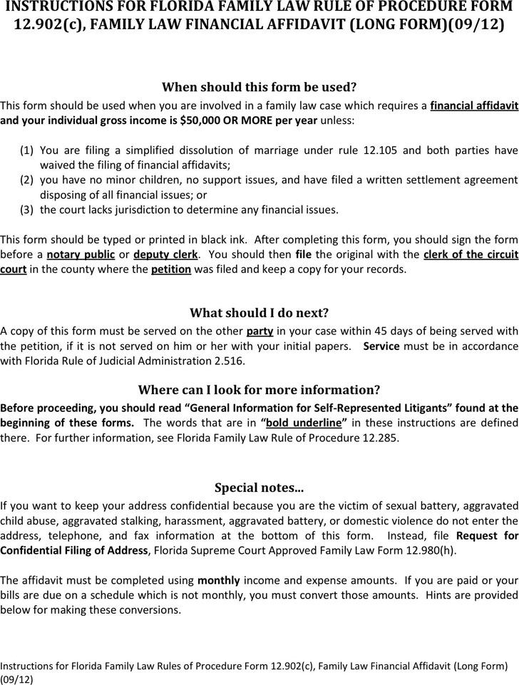 Florida Family Law Financial Affidavit (Long Form)
