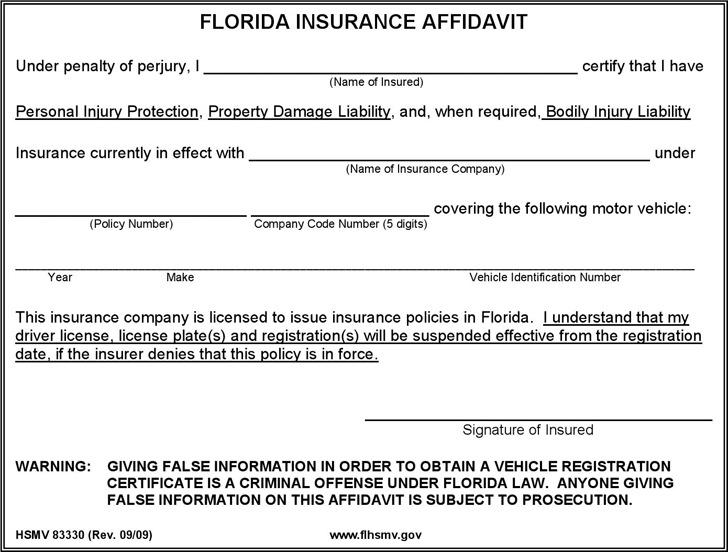 Florida Insurance Affidavit