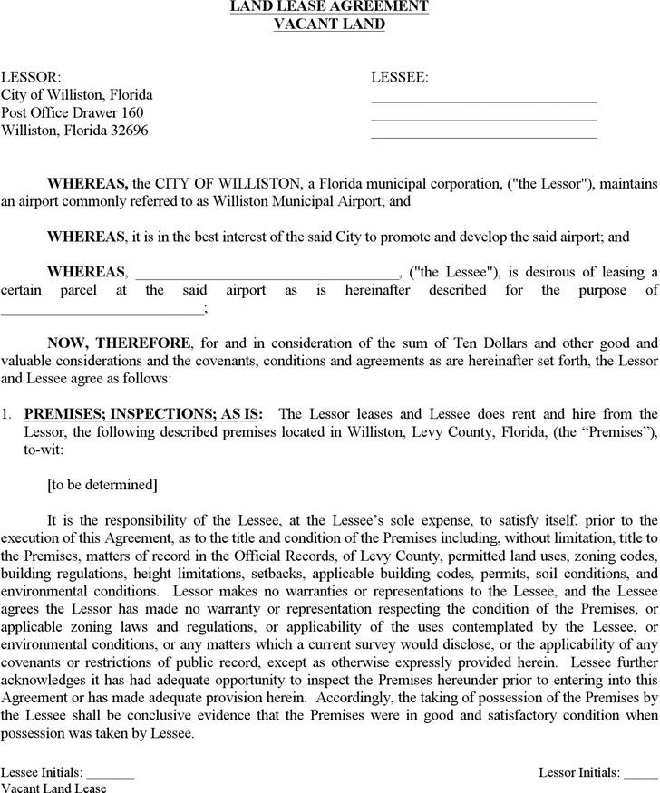 Florida Land Lease Agreement