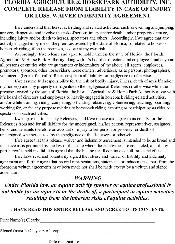 Florida Liability Release Form 2