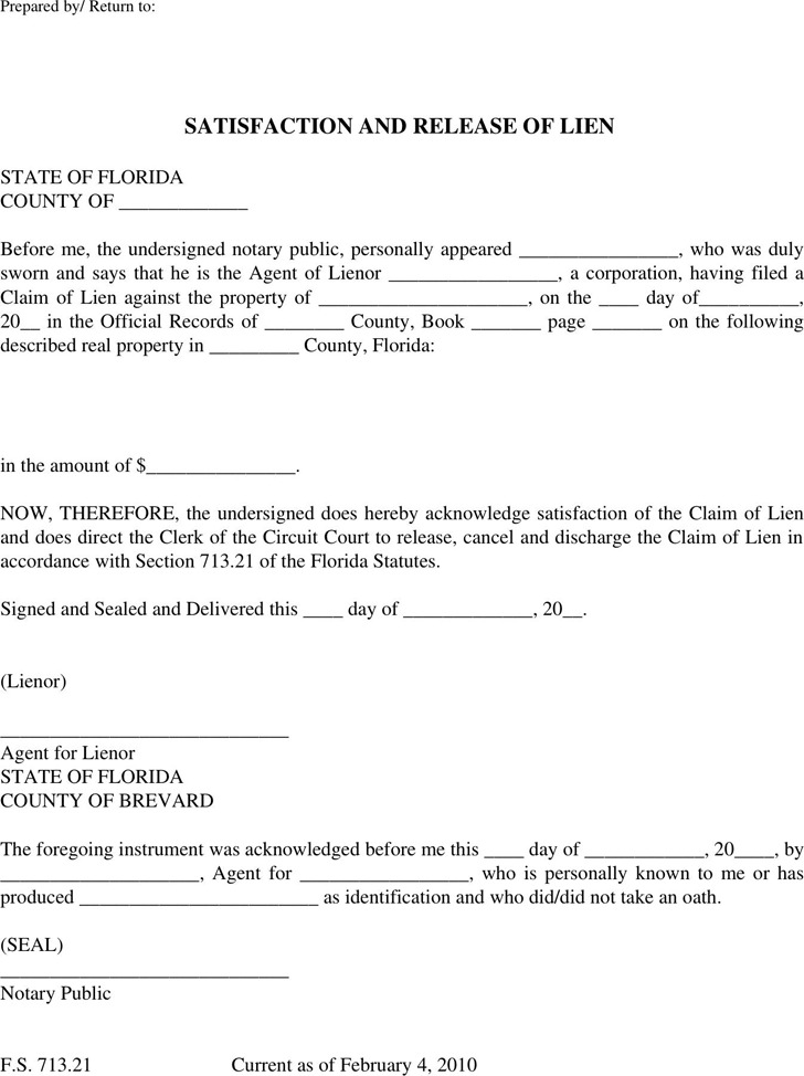 Florida Lien Release Form Download Free Premium Templates Forms - Florida bylaws template