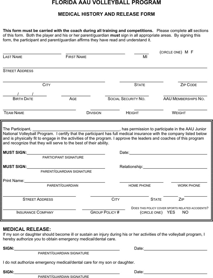 Florida Medical History And Release Form For Player
