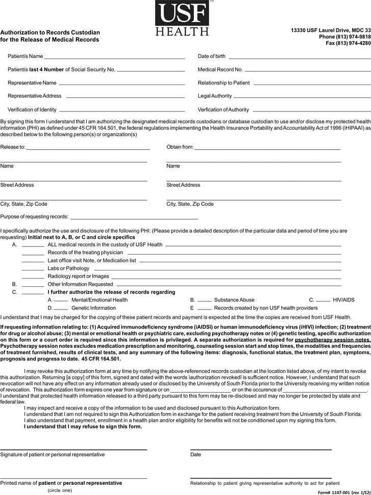 Florida Medical Records Release Form  Download Free  Premium