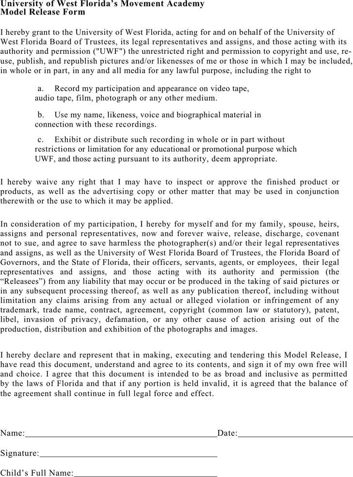 Florida Model Release Form 2