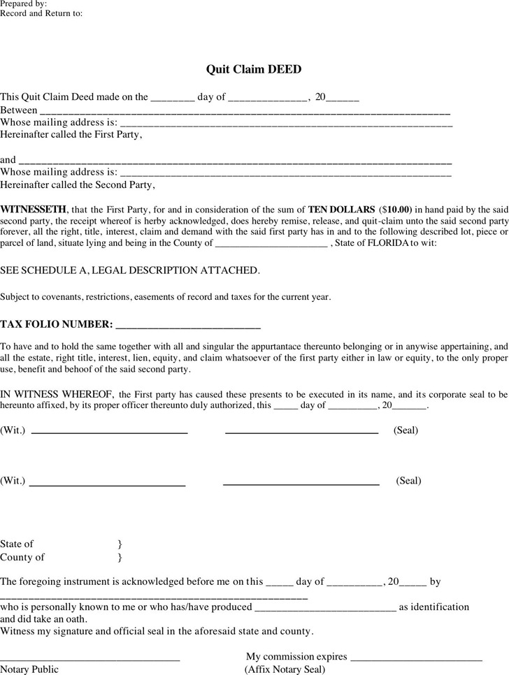 Florida Quitclaim Deed Form | Download Free & Premium Templates