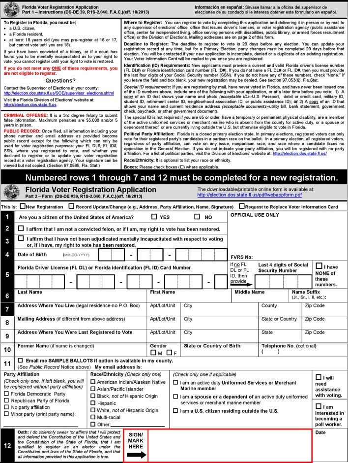 Florida Voter Registration Application