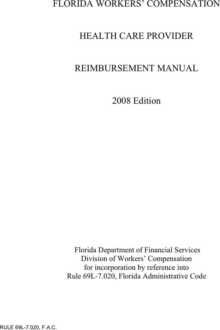 Florida Workers Compensation Health Care Provider Reimbursement Manual