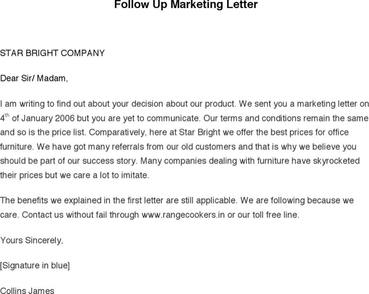 Follow Up Marketing Letter