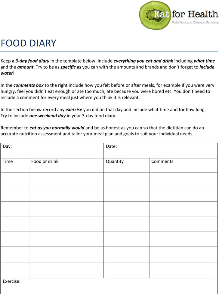 Food Log Template – 3 Day Food Diary Template