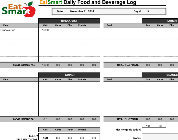 Food Log Templates Food Log Spreadsheet Food Log Template