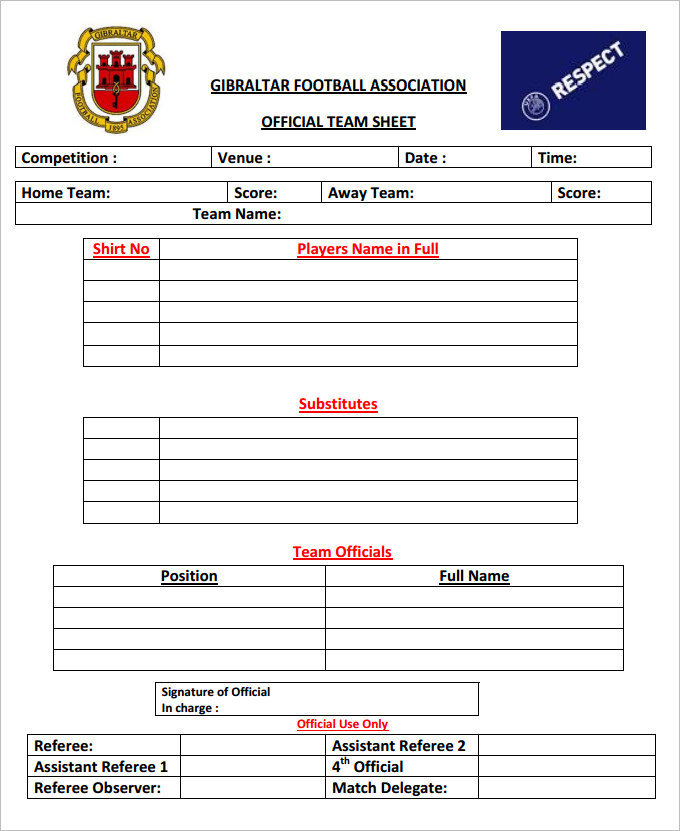 Sample football team sheet templates download free for Sports profile template