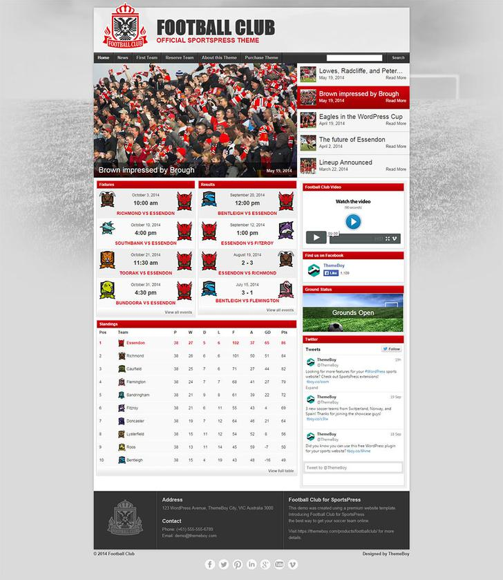 Football Club Website Template