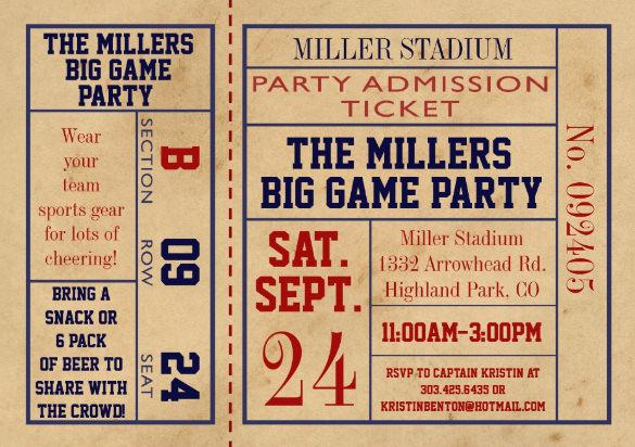 Football Party Ticket Invitation Template  Free Printable Ticket Style Invitations