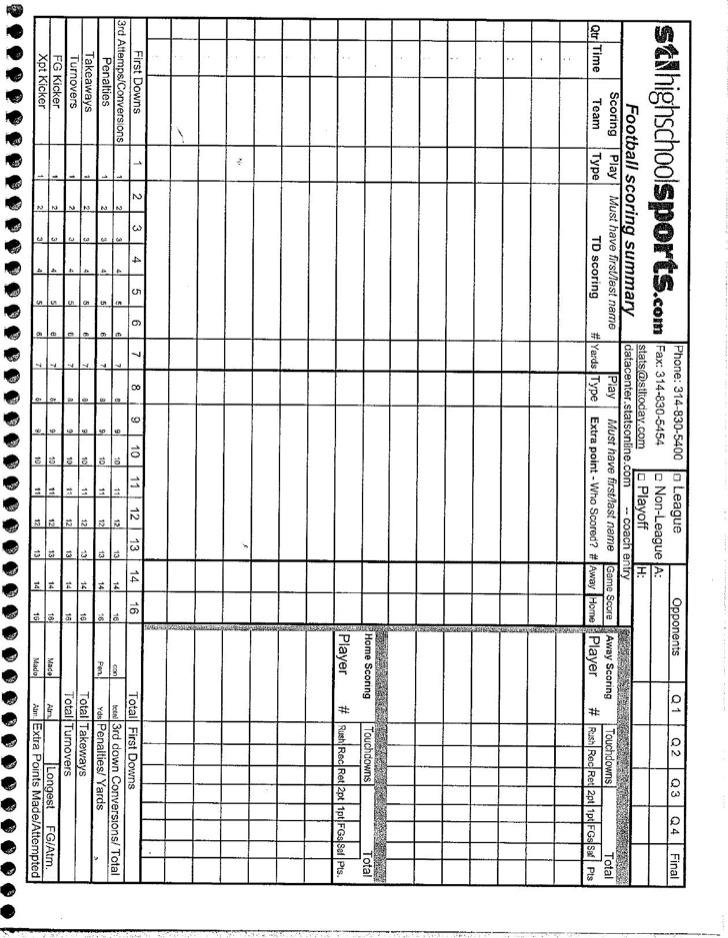 Football Stat Sheet Template - Apigram.Com