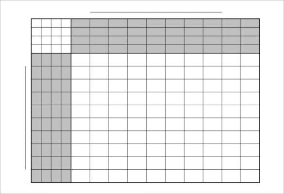 Football Squares10x10 Pool Game 4 Sets Printable