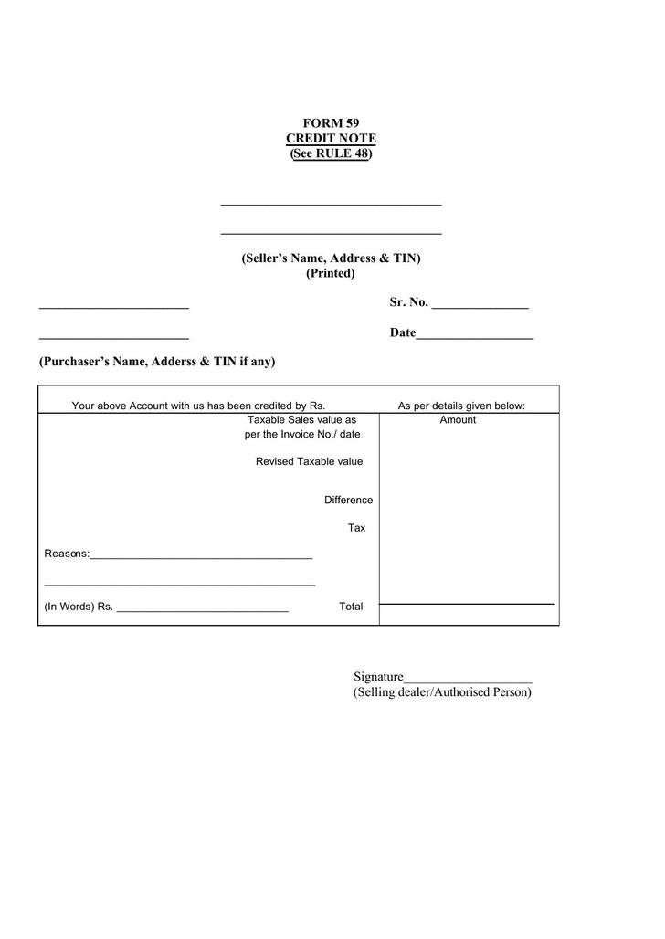Form 59 Credit Note Template Free PDF Format Download  Format For Credit Note