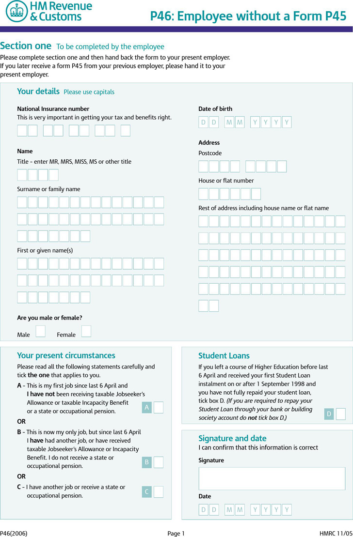 P45 Form Download Free Amp Premium Templates Forms
