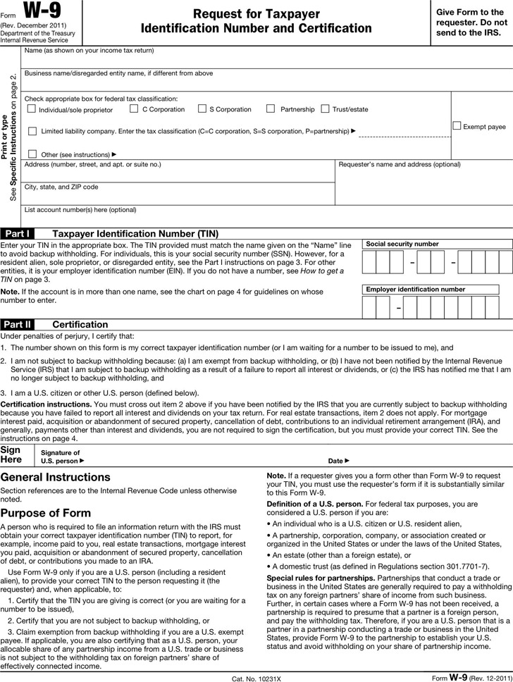 Form W-9   Download Free & Premium Templates, Forms & Samples for ...